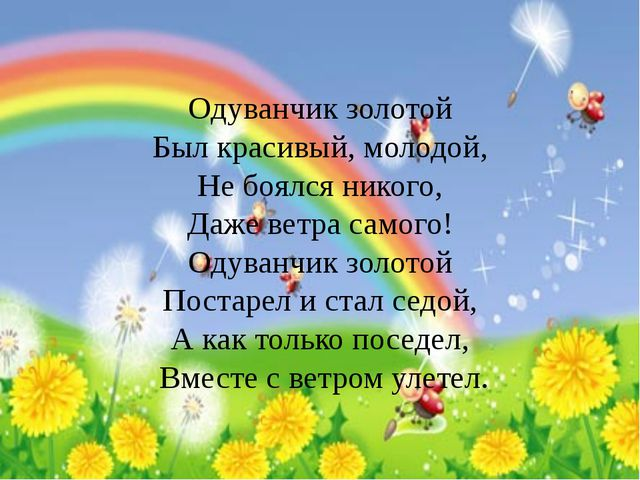 Одуванчик золотой Был красивый, молодой, Не боялся никого, Даже ветра само...