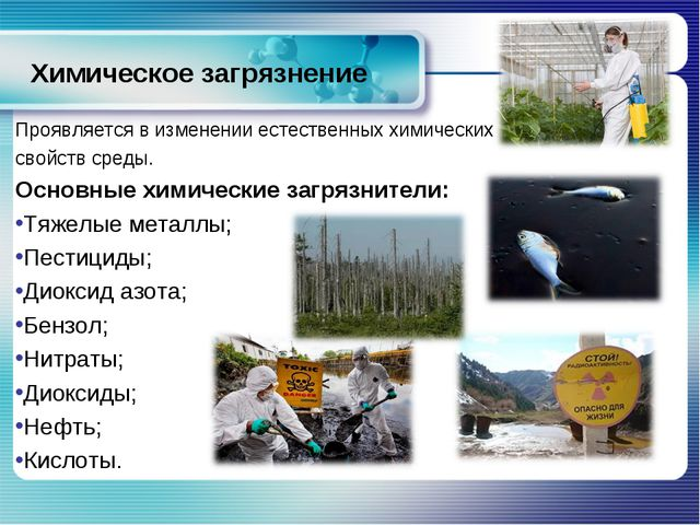 Химическое загрязнение Проявляется в изменении естественных химических свойст...