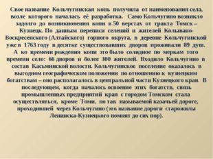 Свое название Кольчугинская копь получила от наименования села, возле которог