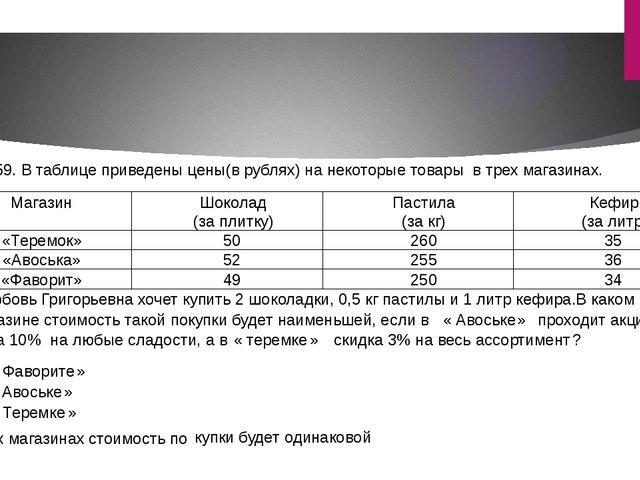 2559. В таблице приведены цены(в рублях) на некоторые товары в трех магазина...