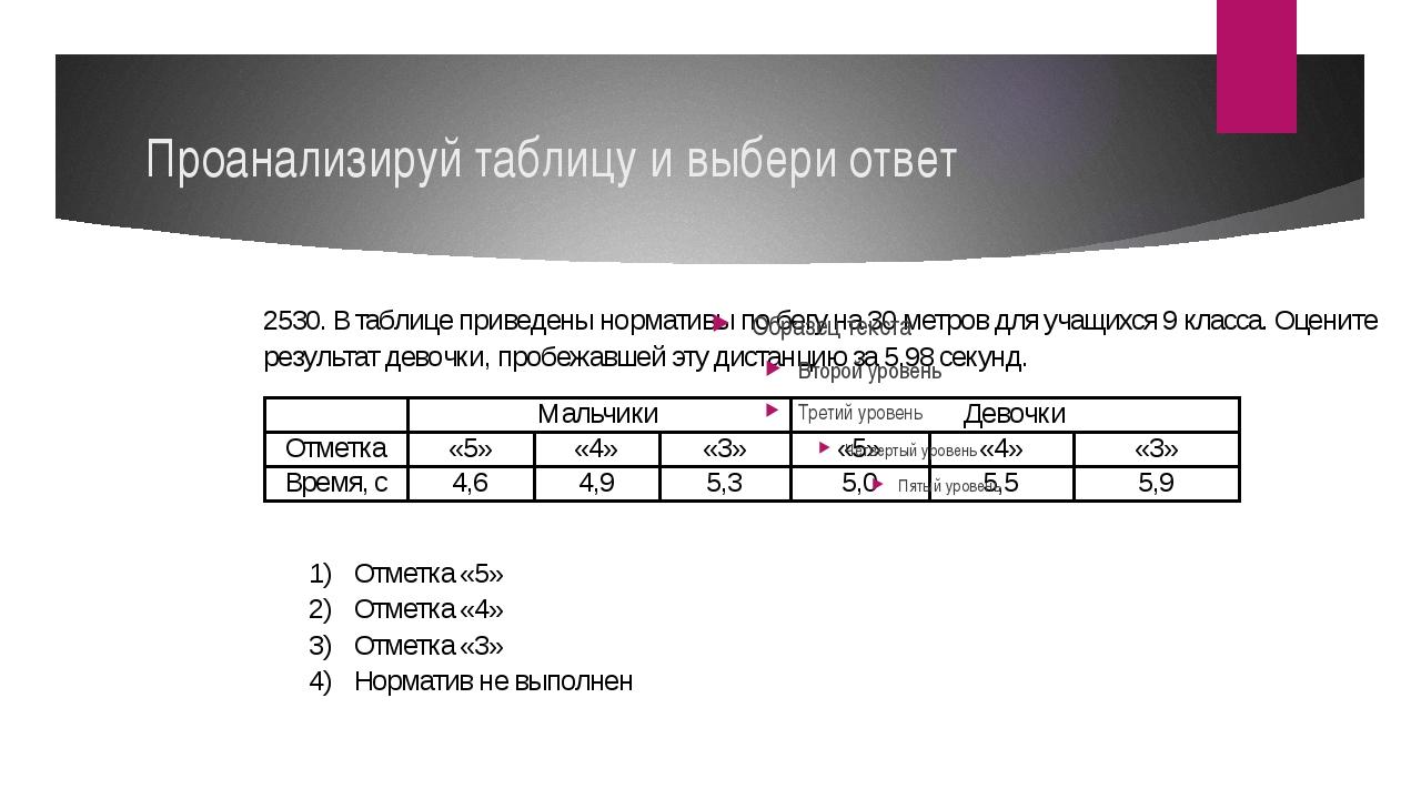 Проанализируй таблицу и выбери ответ