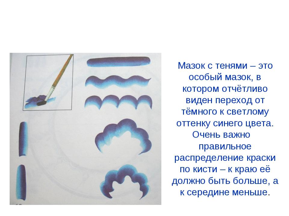 Элементы гжельской росписи Мазок с тенью Мазок с тенями – это особый мазок, в...