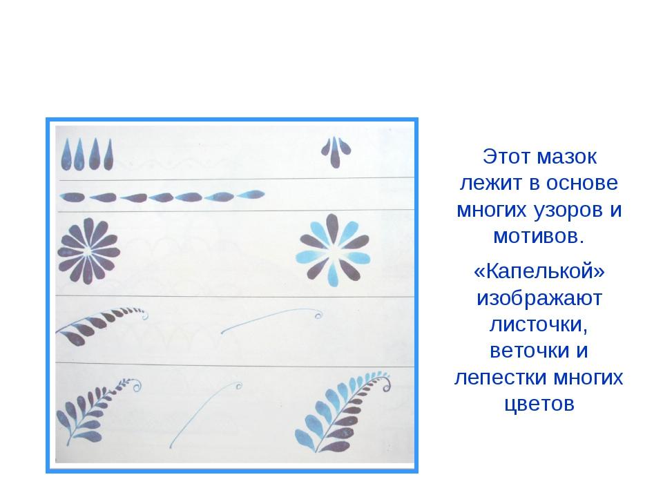 Элементы гжельской росписи «Капелька» Этот мазок лежит в основе многих узоров...