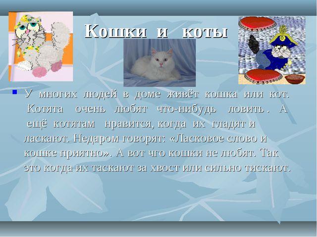 Кошки и коты У многих людей в доме живёт кошка или кот. Котята очень любят чт...