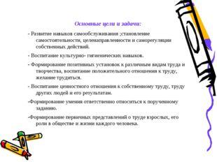 Основные цели и задачи: - Развитие навыков самообслуживания ;становление само
