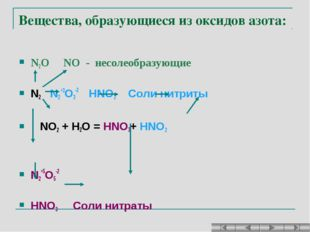 Вещества, образующиеся из оксидов азота: N2O NO - несолеобразующие N2 N2+3O3-