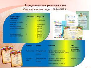 Предметные результаты Участие в олимпиадах 2014-2015 г. Предмет Уровень Резу