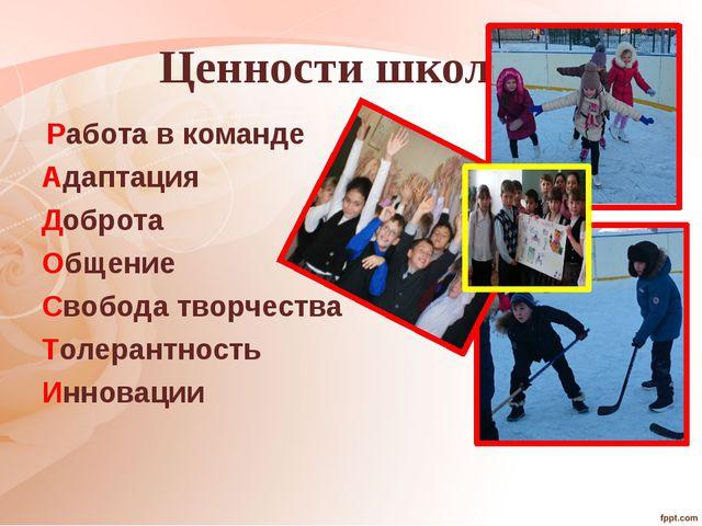Ценности школы: Работа в команде Адаптация Доброта Общение Свобода творчеств...