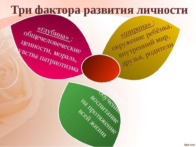 Три фактора развития личности «глубина» : общечеловеческие ценности, мораль,...