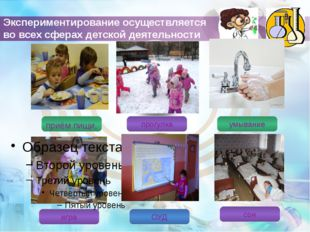 Экспериментирование осуществляется во всех сферах детской деятельности приём