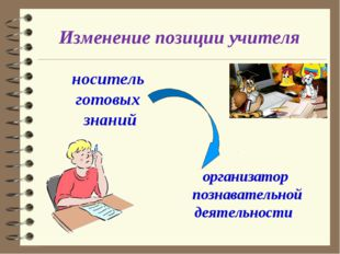Изменение позиции учителя носитeль готовых знаний организaтор познавательной