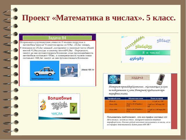 Проект «Математика в числах». 5 класс.