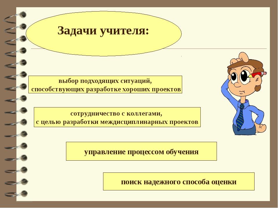 Задачи учителя: выбор подходящих ситуаций, способствующих разработке хороших...