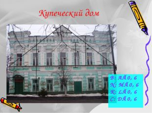 Купеческий дом B: A≈0, 6 N: M≈0, 6 K: L≈0, 6 C: D≈0, 6