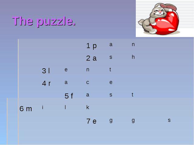 The puzzle. 1 pan 2 ash 3 lent 4 race 5 fast 6 milk...