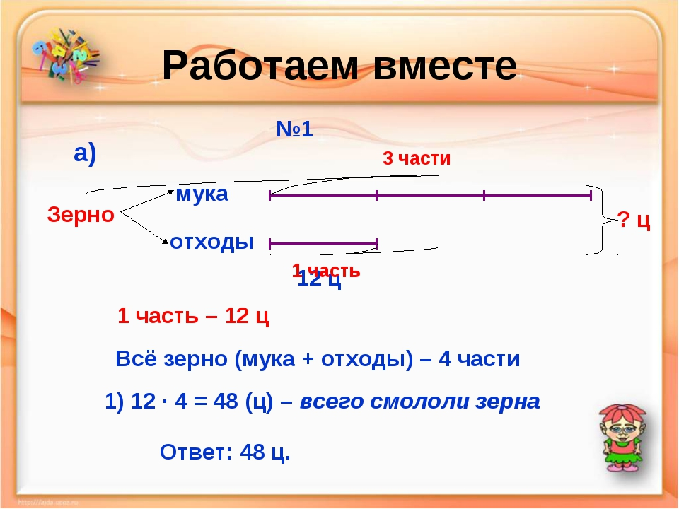 Работаем вместе №1 мука отходы Зерно а) 12 ц 3 части 1 часть ? ц 1 часть – 12...