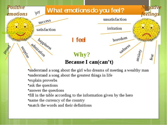 What emotions do you feel? Positive emotions Negative feelings satisfaction h...