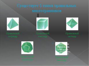 Существует 5 типов правильных многогранников Правильный додекаэдр Правильный