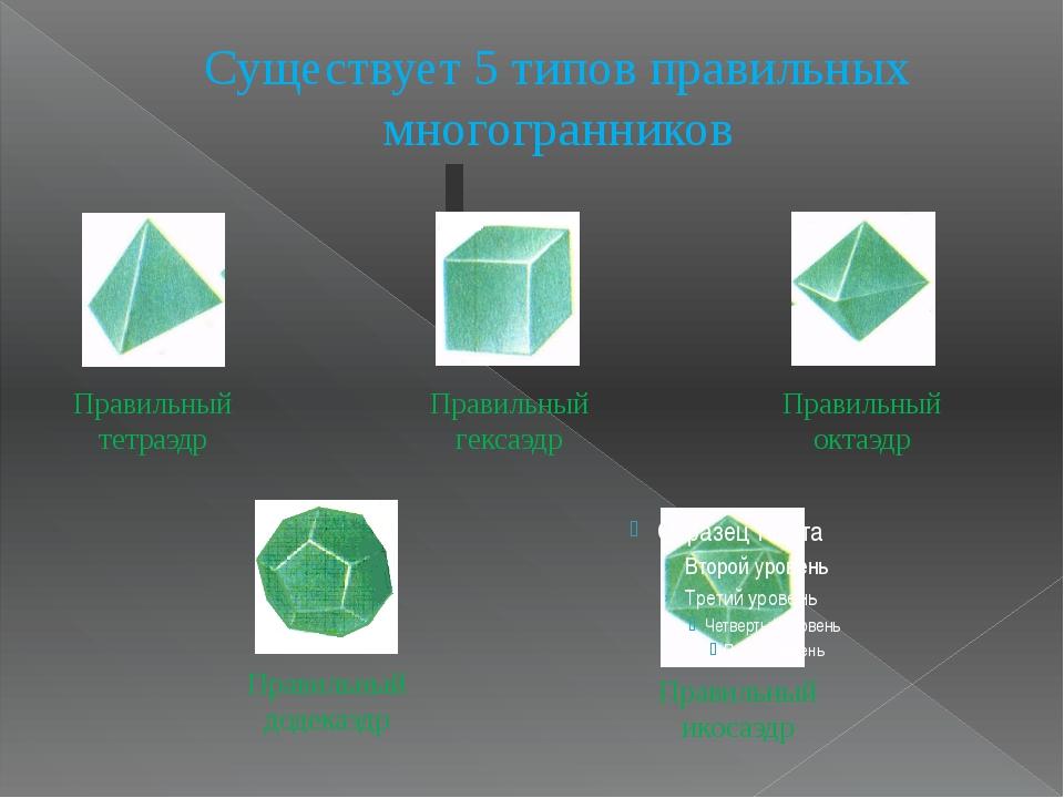 Существует 5 типов правильных многогранников Правильный додекаэдр Правильный...