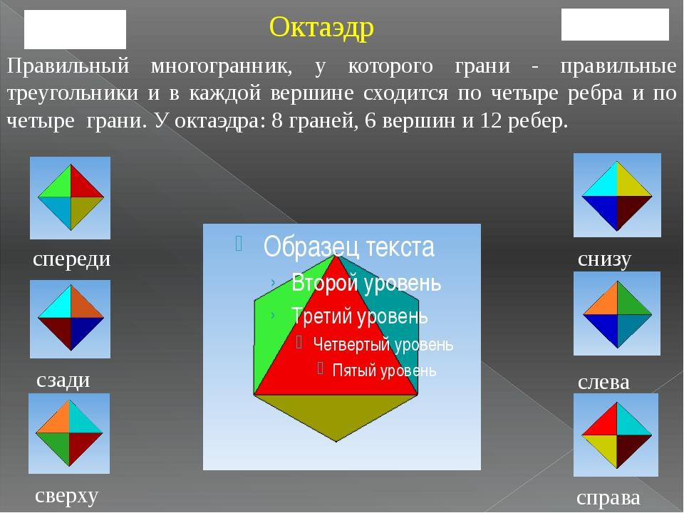 спереди сзади сверху справа слева снизу Октаэдр Правильный многогранник, у ко...