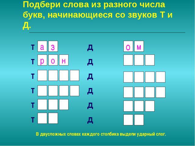 Подбери слова из разного числа букв, начинающиеся со звуков Т и Д. т д т д т...