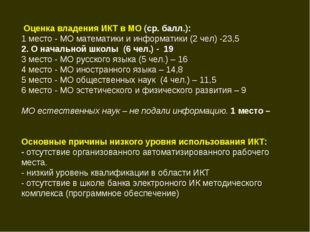 Оценка владения ИКТ в МО (ср. балл.): 1 место - МО математики и информатики