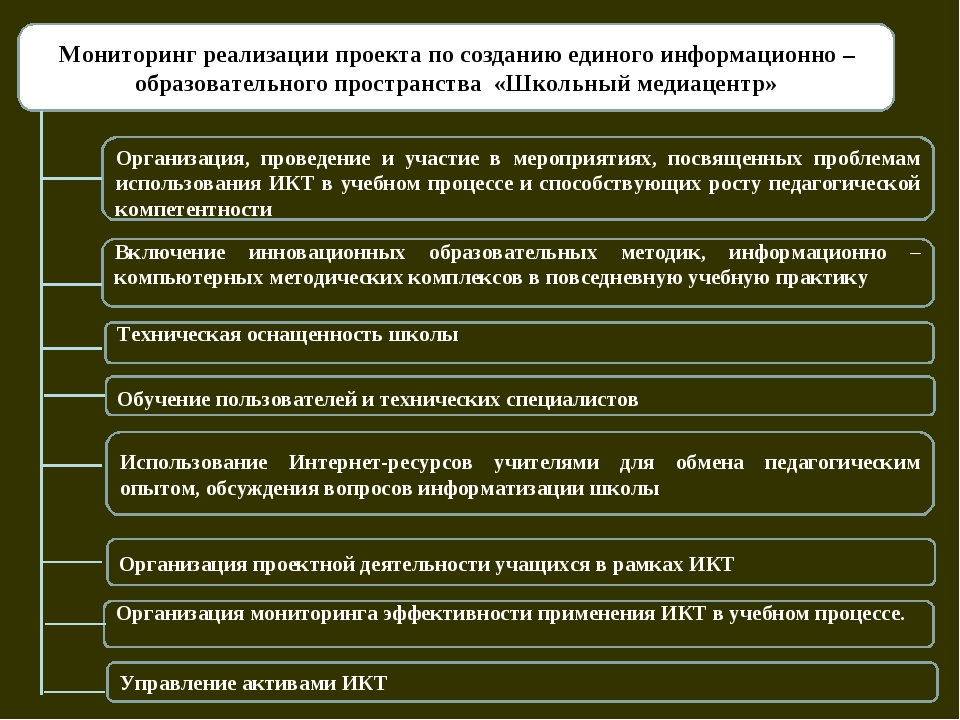 Мониторинг реализации проекта по созданию единого информационно – образовате...