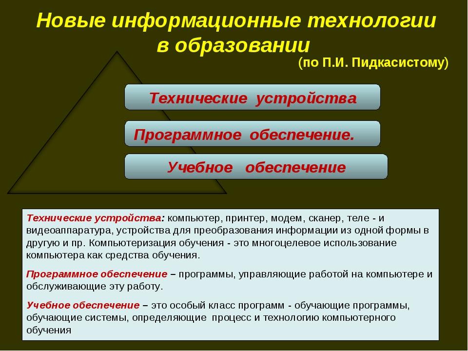 Новые информационные технологии в образовании Технические устройства Программ...