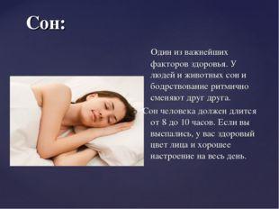 Сон: Один из важнейших факторов здоровья. У людей и животных сон и бодрствова