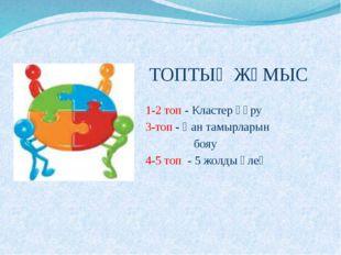 ТОПТЫҚ ЖҰМЫС 1-2 топ - Кластер құру 3-топ - Қан тамырларын бояу 4-5 топ - 5 ж
