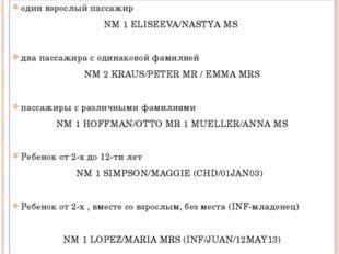 один взрослый пассажир NM 1 ELISEEVA/NASTYA MS два пассажира с одинаковой фам