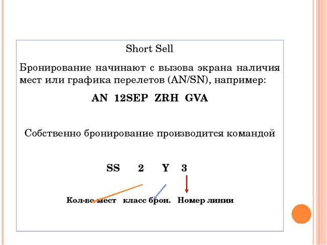 Short Sell Бронирование начинают с вызова экрана наличия мест или графика пер...