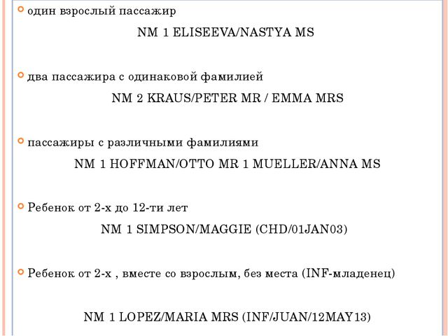 один взрослый пассажир NM 1 ELISEEVA/NASTYA MS два пассажира с одинаковой фам...