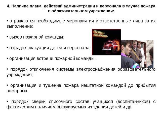 4. Наличие плана действий администрации и персонала в случае пожара в образов...