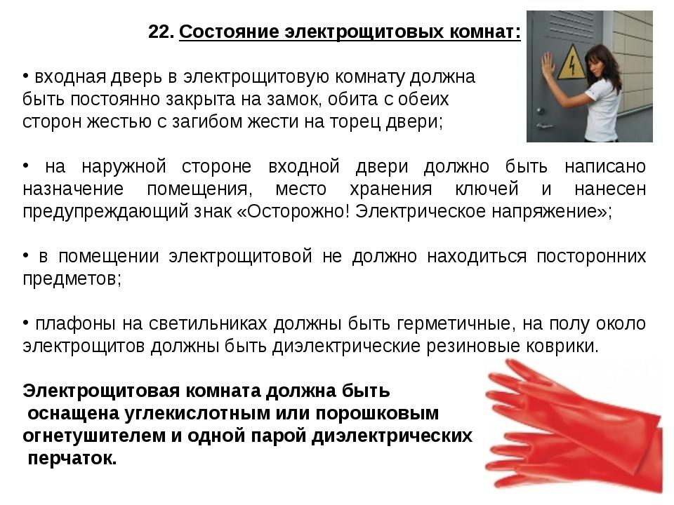 22. Состояние электрощитовых комнат: входная дверь в электрощитовую комнату д...