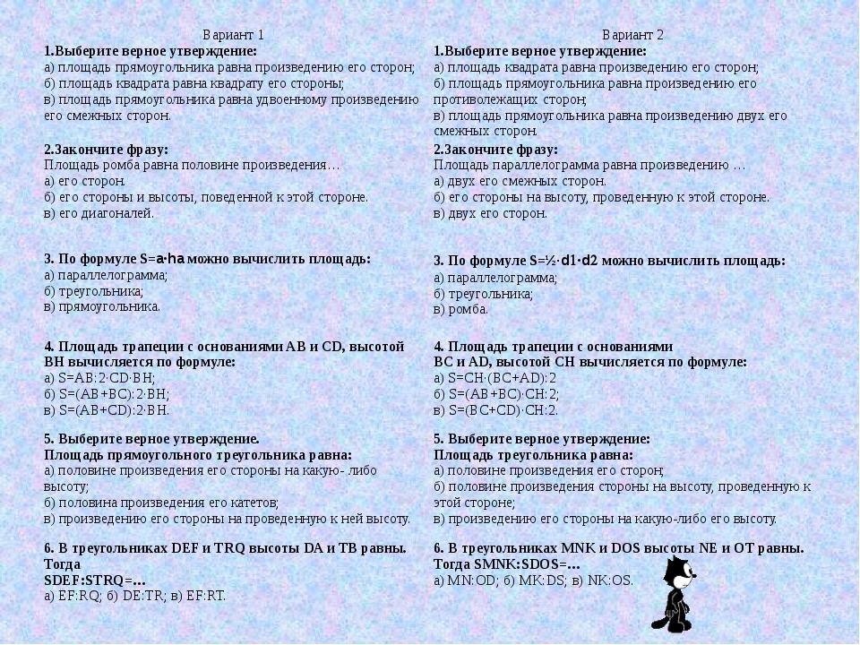Вариант 1 Вариант 2 1.Выберите верное утверждение: а) площадь прямоугольника...