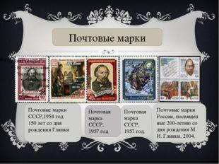 Почтовые марки СССР,1954 год 150 лет со дня рождения Глинки  Почтовая марка