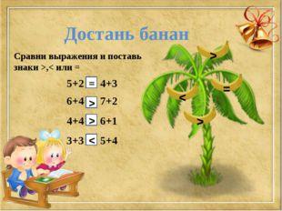 Достань банан Сравни выражения и поставь знаки >,< или = 5+2 4+3 6+4 7+2 3+3