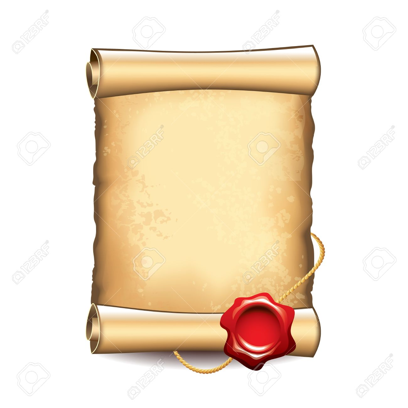 27708922-Old-scroll-with-wax-seal-isolated-vector-illustration-Stock-Vector.jpg