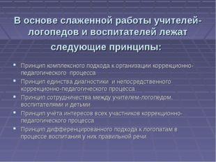 В основе слаженной работы учителей-логопедов и воспитателей лежат следующие п