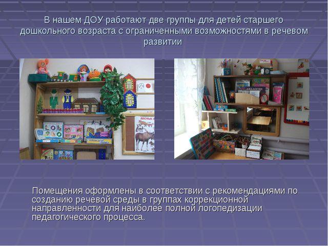 В нашем ДОУ работают две группы для детей старшего дошкольного возраста с огр...