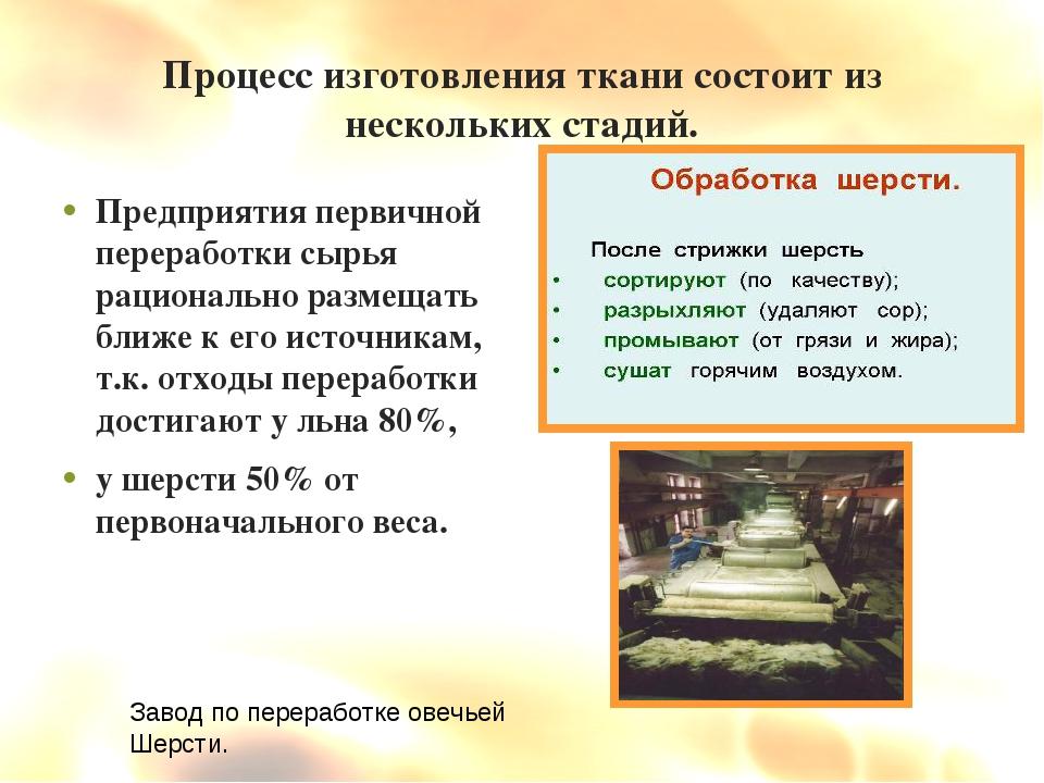 Процесс изготовления ткани состоит из нескольких стадий. Предприятия первично...