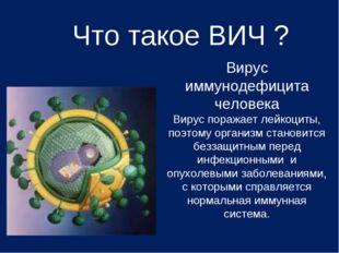 Что такое ВИЧ ? Вирус иммунодефицита человека Вирус поражает лейкоциты, поэто