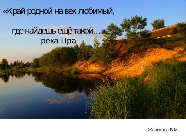 «Край родной на век любимый, где найдешь ещё такой…» река Пра Жарикова В.М.