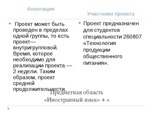 Предметная область «Иностранный язык» + « Аннотация Участники проекта Проект...