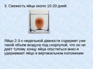 3. Свежесть яйца около 15-20 дней: Яйцо 2-3-х-недельной давности содержит уже