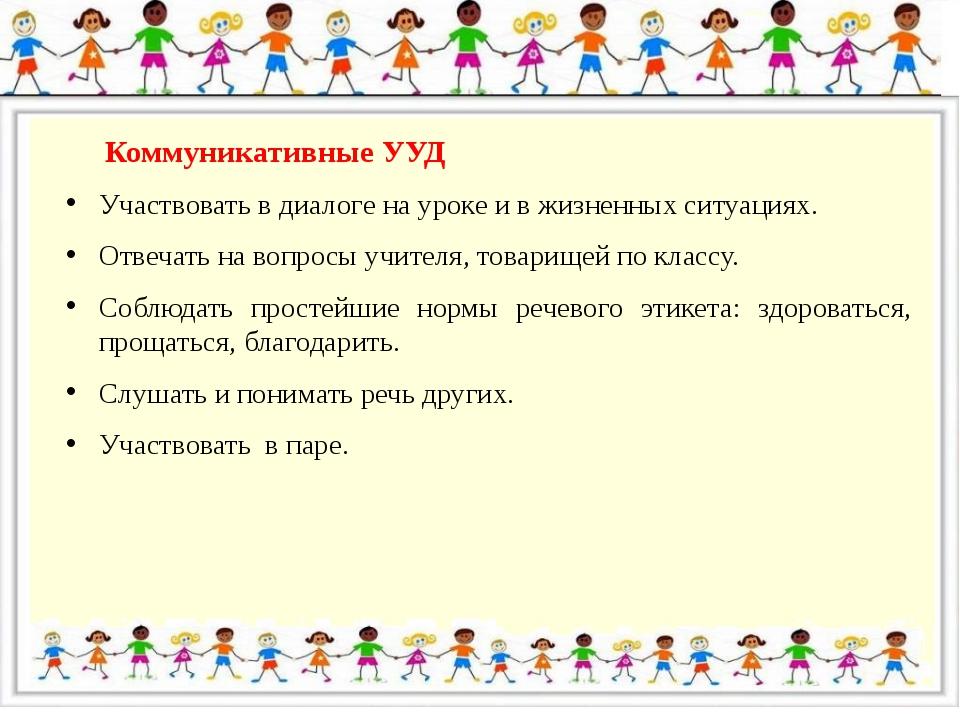 Коммуникативные УУД Участвовать в диалоге на уроке и в жизненных ситуациях....
