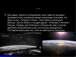 … Как видим, Земля по напряжению силы тяжести занимает промежуточное положени