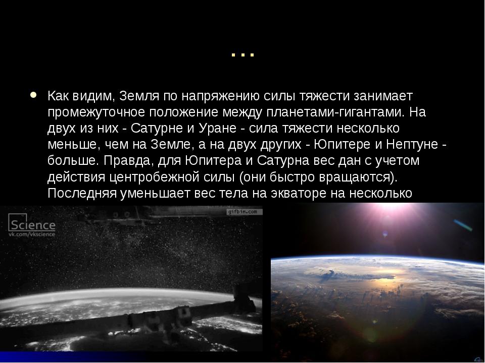 … Как видим, Земля по напряжению силы тяжести занимает промежуточное положени...