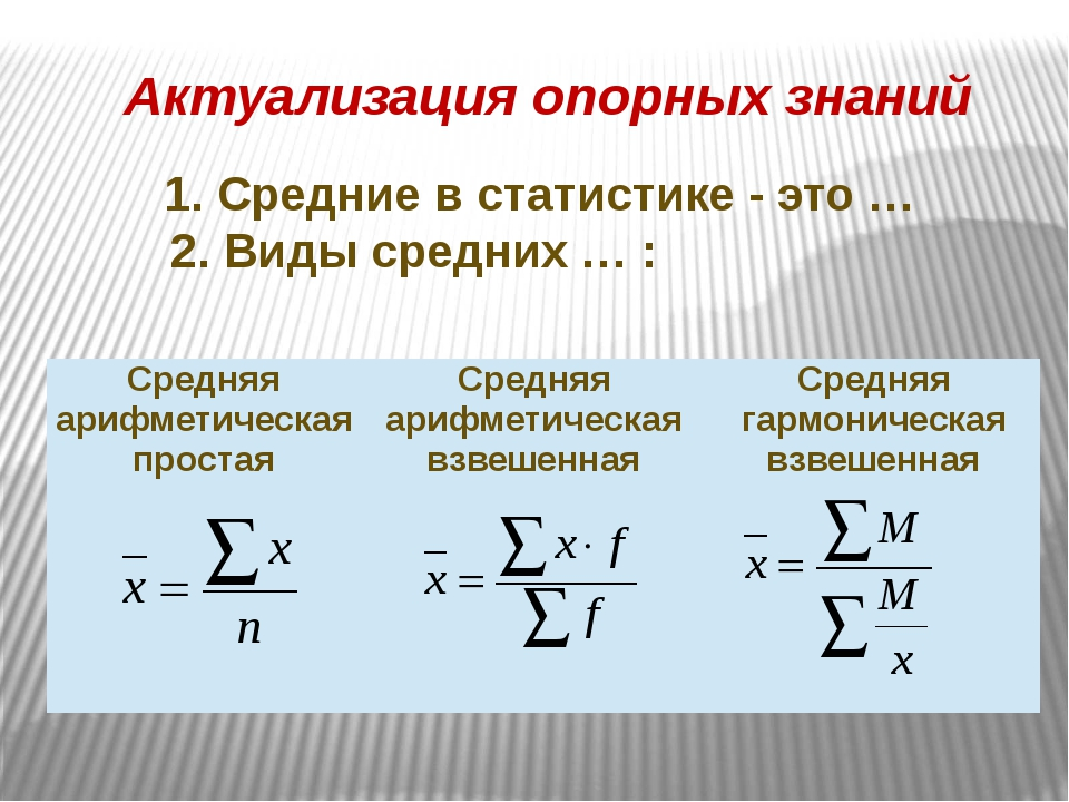 1. Средние в статистике - это … 2. Виды средних … : Актуализация опорных зна...